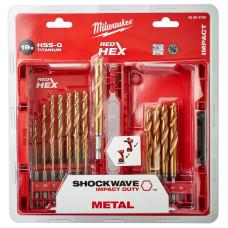 Набор сверл по металлу Milwaukee shockwave HSS-G TIN RED HEX